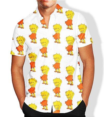Camisa Social Lançamento Masculina Full Estampada Lisa Simpson