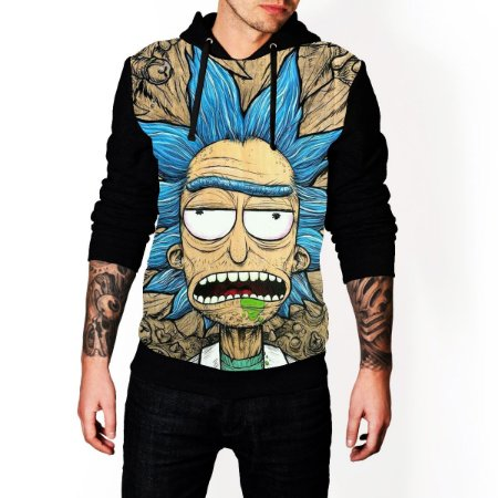 Blusa De Frio Moletom Full Estampado Rick And Morty