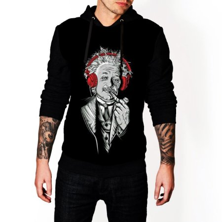 Blusa De Frio Moletom Full Estampado Albert Einstein