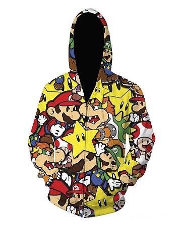 Blusa De Frio Moletom Full Estampado Super Mario