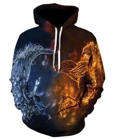 Blusa De Frio Moletom Full Print Estampado Fire And Ice