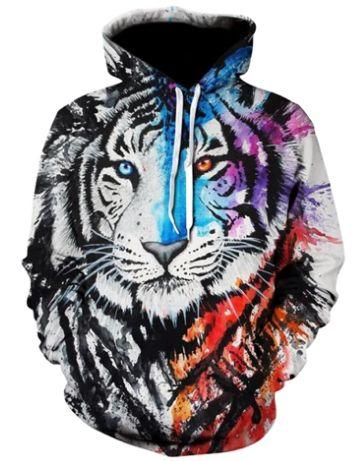Blusa De Frio Moletom Full Print Estampado Tigre Branco