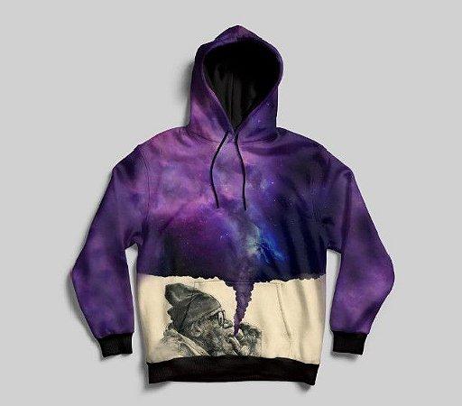 Blusa De Frio Velhinho Psicodélico Desenho Moletom Galáxia
