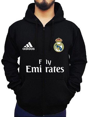 Blusa De Frio Moletom Full Estampado Zíper Real Madrid