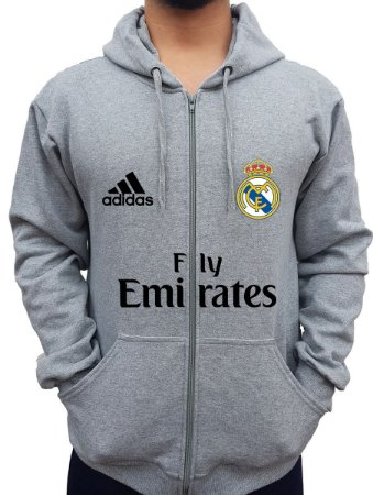 Blusa De Frio Moletom Full Estampado Zíper Real Madrid