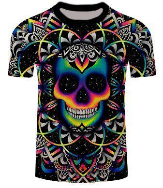 Camisa Camiseta Caveira Psicodélico