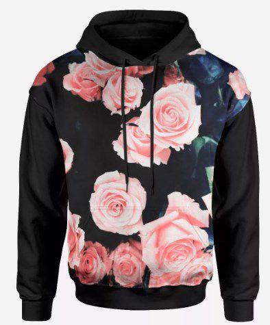 Blusa Moletom 3d Full Tumblr Floral Rosas Flores Unissex