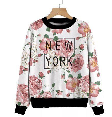 Moletom Full New York, Floral Flores Rosas, Fofas