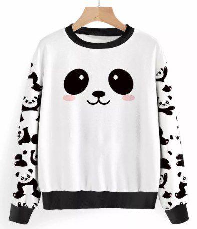 Moletom Fofa Ursinhos Panda Gatinhos Florais