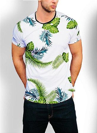 Camiseta Camisa Longline Estampa Folhas