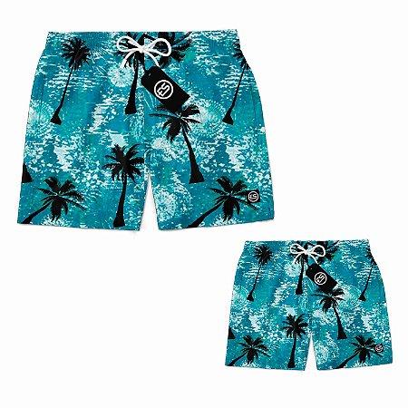 Kit Tal Pai Tal Filho Short Bermuda Ney Moda Praia Mauricinho Praia