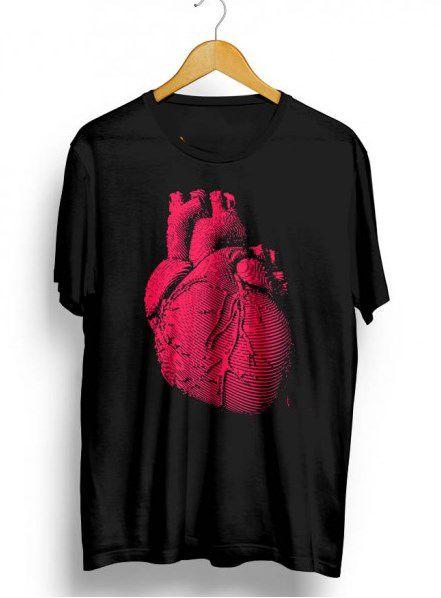Camiseta Camisa Full Estampada Coração