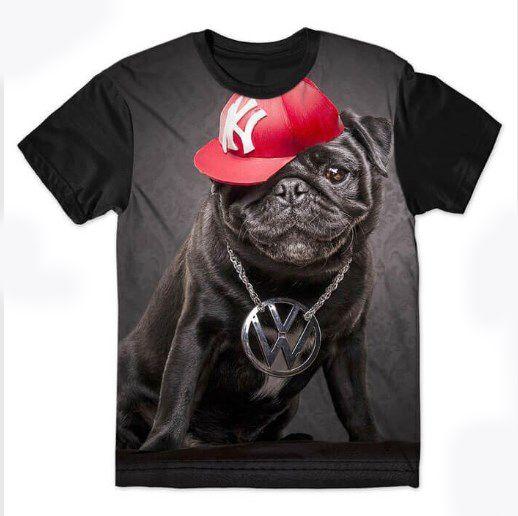 Camiseta Camisa Full Estampada Masculina Bulldog
