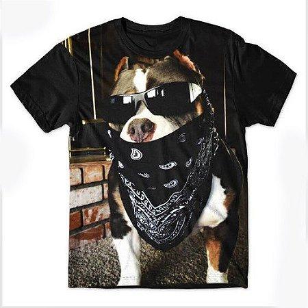 Camiseta Camisa Full Estampada Masculina Pitbull