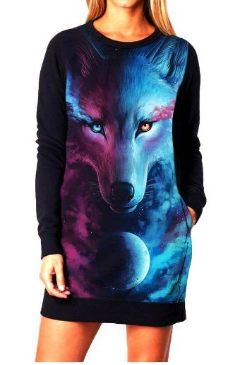 Vestido Feminino Moletom Lobo Galaxia
