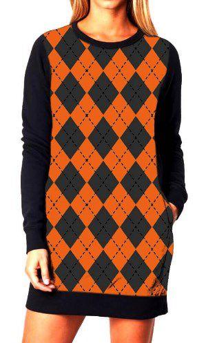 Vestido Feminino Moletom Xadrez Laranja Orange Chess Tumblr