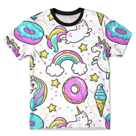 Camiseta Camisa Full Estampada Masculina Unicórnio e Dinossauro