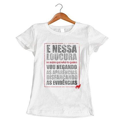 Camisa Camiseta Frases de Música Evidências