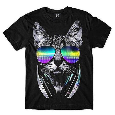 CAMISETA CAT MUSIC ANIMAIS  - GATO FONES DE OUVIDO