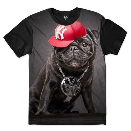 Camisa Camiseta  PUG Rapper  Animais
