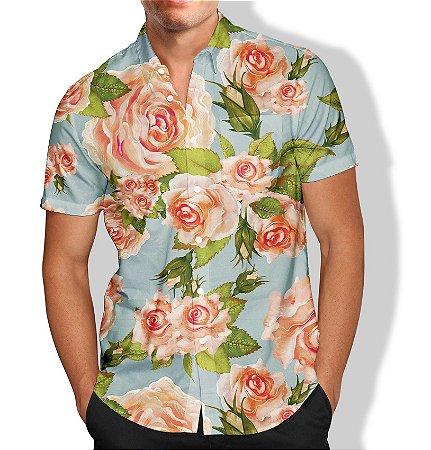 Camisa Social Unissex Floral AZUL/ROSA