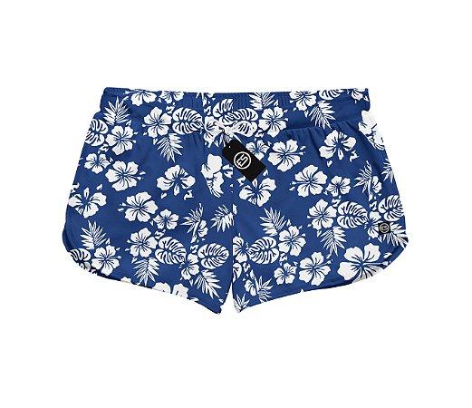 Short Feminino Moda Praia Patricinha Floral - Flores Azul
