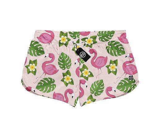 Short Feminino Moda Praia Patricinha Florido Flamingo