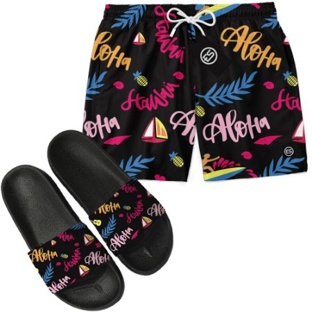 Kit Short Bermuda Moda Praia + Chinelo Slide - Aloha