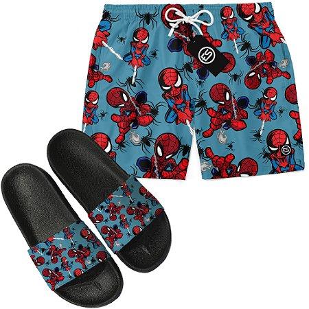 Kit Short Bermuda Moda Praia + Chinelo Slide - Homem Aranha