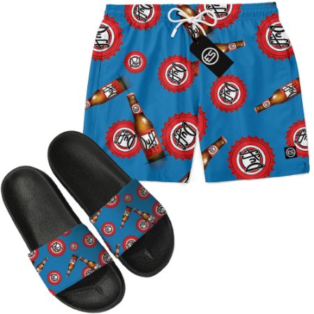 Kit Short Bermuda Moda Praia + Chinelo Slide - Duff Beer