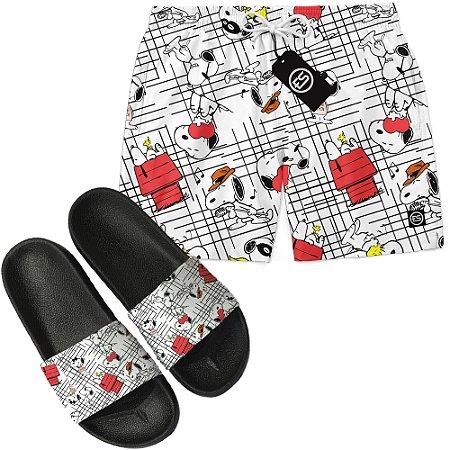 Kit Short Bermuda Moda Praia + Chinelo Slide - Snoopy