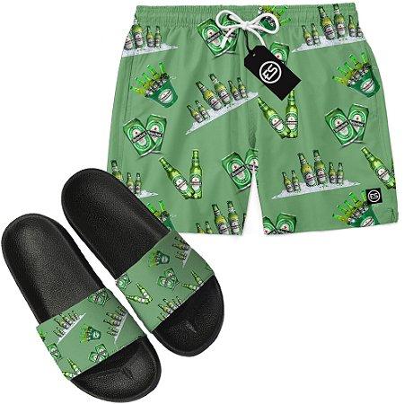 Kit Short Bermuda Moda Praia + Chinelo Slide - Heineken