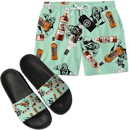 Kit Short Bermuda Moda Praia + Chinelo Slide - Montilla