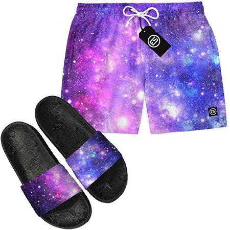 Kit Short Bermuda Moda Praia + Chinelo Slide - Galaxy