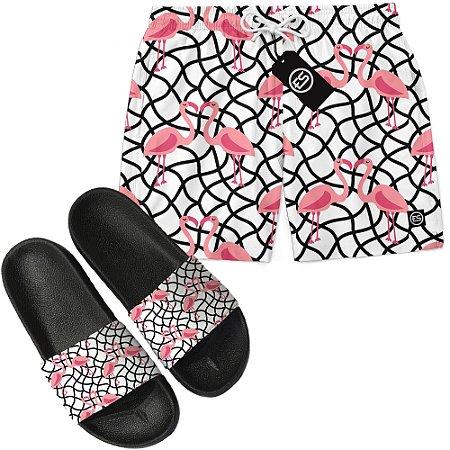 Kit Short Bermuda Moda Praia + Chinelo Slide - Flamingo