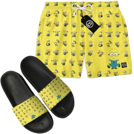 Kit Short Bermuda Moda Praia + Chinelo Slide - Minions