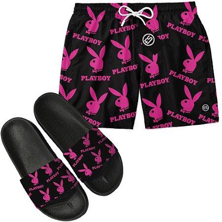 Kit Short Bermuda Moda Praia + Chinelo Slide - Playboy