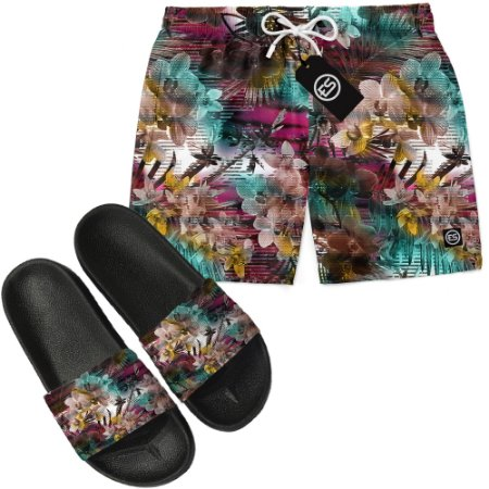 Kit Short Bermuda Moda Praia + Chinelo Slide - Floral Glitch