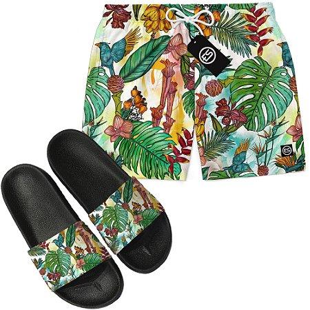 Kit Short Bermuda Moda Praia + Chinelo Slide - Floral