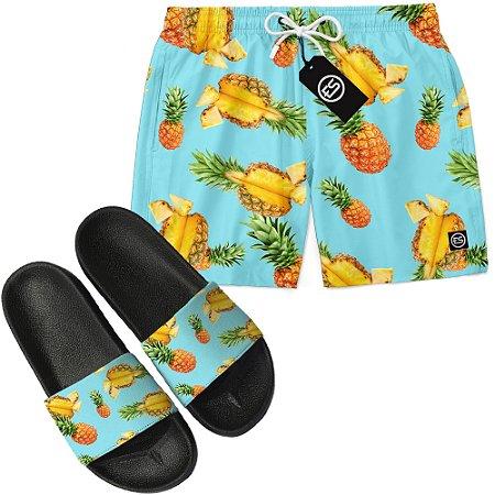 Kit Short Bermuda Moda Praia + Chinelo Slide - Abacaxi