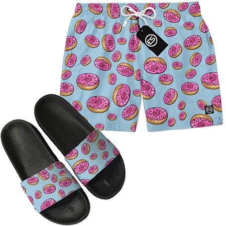 Kit Short Bermuda Moda Praia + Chinelo Slide - Simpsons Donut