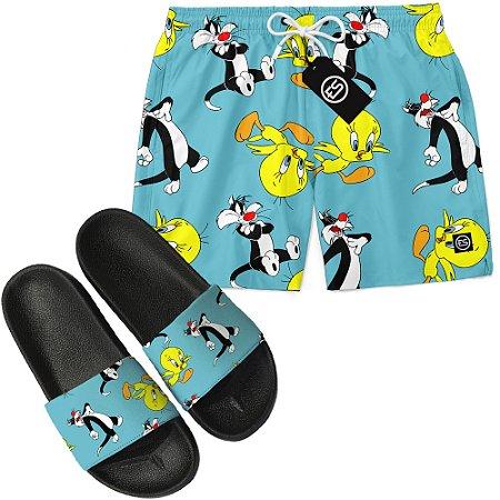 Kit Short Bermuda Moda Praia + Chinelo Slide - Looney Tunes