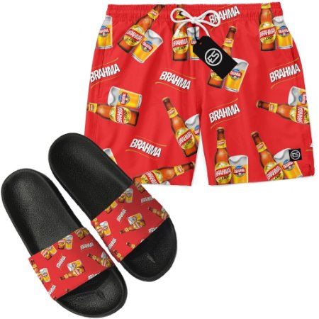 Kit Short Bermuda Moda Praia + Chinelo Slide - Brahma