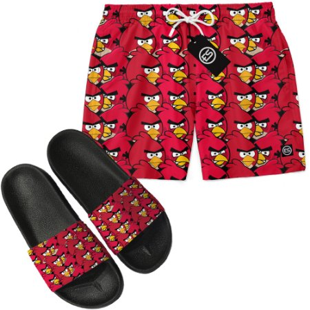 Kit Short Bermuda Moda Praia + Chinelo Slide - Angry Birds