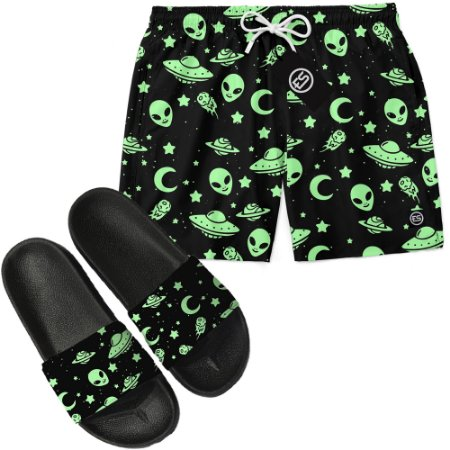 Kit Short Bermuda Moda Praia + Chinelo Slide - Green Alien