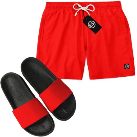 Kit Short Bermuda Moda Praia + Chinelo Slide - Cor Lisa