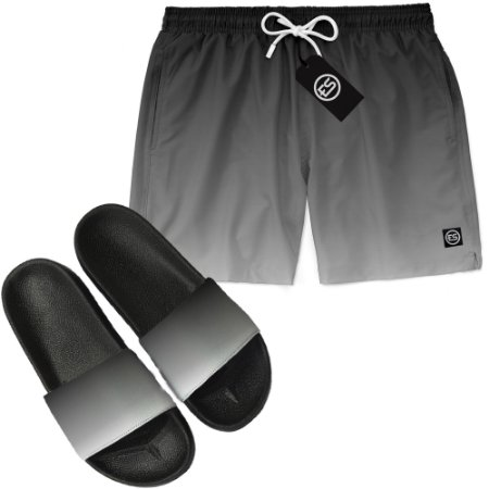 Kit Short Bermuda Moda Praia + Chinelo Slide - Degradê
