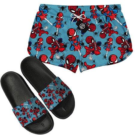 Kit Short Moda Praia + Chinelo Slide - Homem Aranha