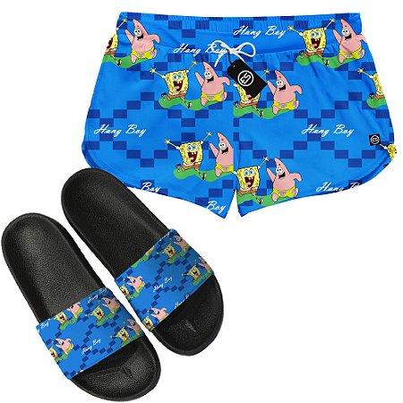 Kit Short Moda Praia + Chinelo Slide - Bob Esponja