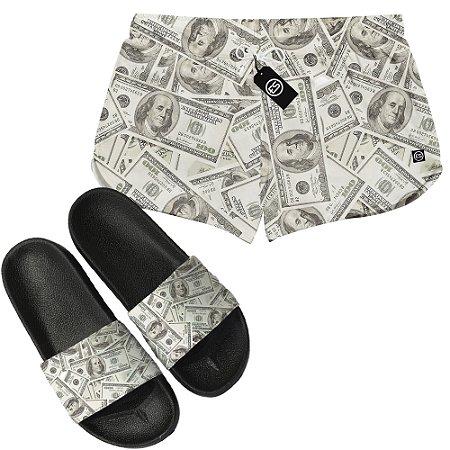 Kit Short Moda Praia + Chinelo Slide - Money Dollar